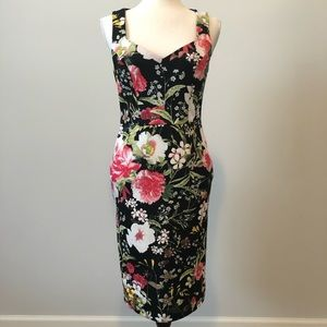 Bodycon Floral Mesh Back Dress